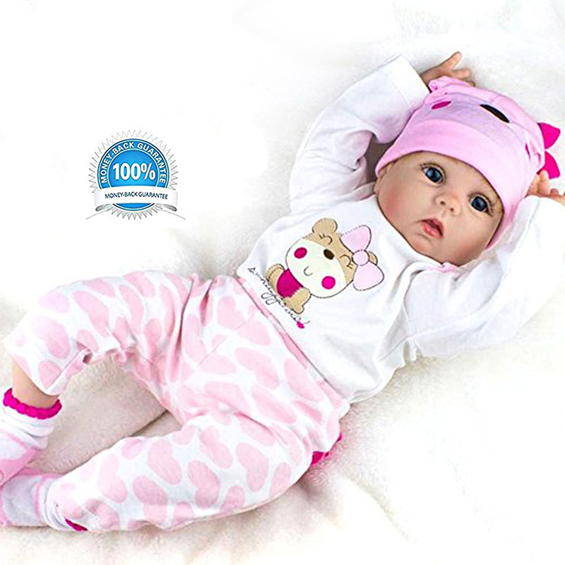 Reborn Baby Doll Girl Look Real Silicone Pink Outfit 22 Inches pink lala doll top light hot pink ruffle bow petal pettiskirt baby girl outfit set nb 8y mapsa0005
