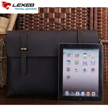 LEXEB Brand Lawyer Briefcases For 15 Inches Laptop Office Bag Leather Vintage Classic High Quality Flap Pocket Solid Coffee