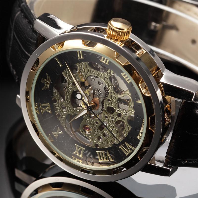Prix pour SEWOR Or Noir Squelette Cadran Bracelet En Cuir Montre Homme Hommes de Casual Montre Mécanique Mens Montre-Bracelet Horloges
