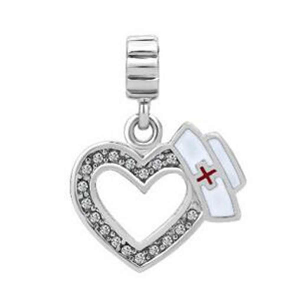 Slide charm darmowa wysyłka Fit Pandora charm bransoletki biały kamienie zodiakalne płyta serce miłość z Logo medyczne Dangle Charms dla