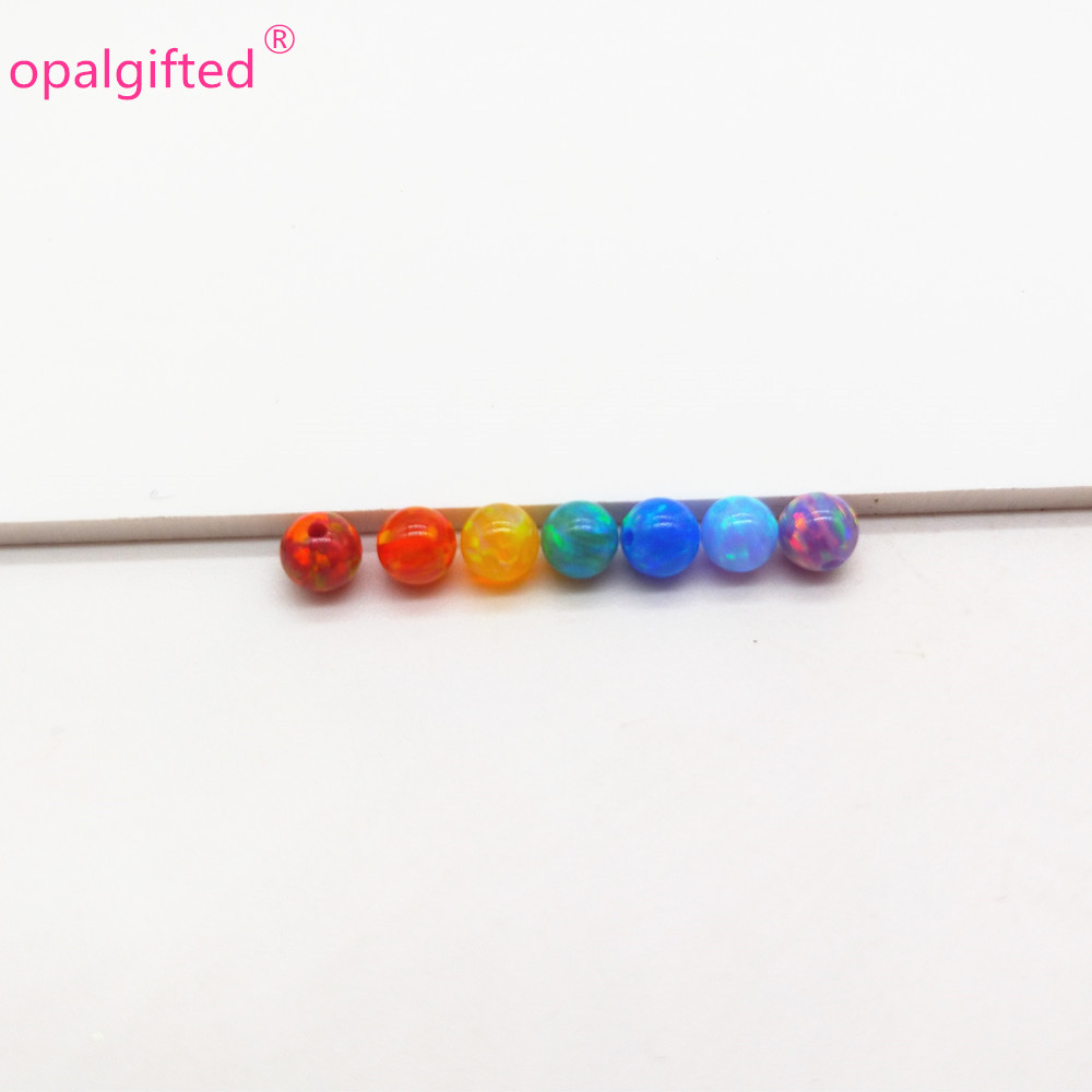 49pcs lot 7 colors mixed 4mm synthetic opal beads stone pendant for making Jewelry rainbow colors