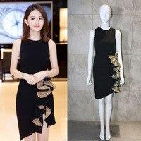 The 2008 New Zhao Liying Star and Hepburn Style Small Black Sleeveless Irregular Lotus Leaf Coloured Dress