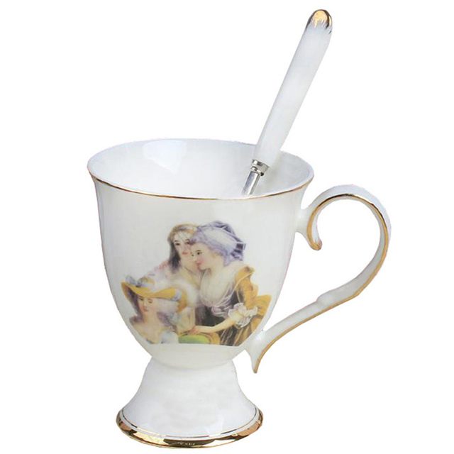European Royal Coffee Mug Sets With Tea Spoons Bone China Ceramic Oil Painting Figure Cup
