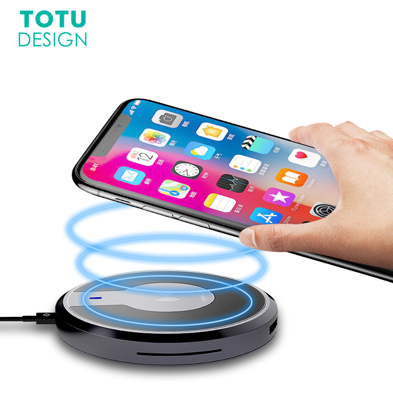 Qi Wireless Charger Pad For iPhone X 8 Plus.TOTU 9W Fast Charging Dual USB Type C Output Wireless Charger For Samsung Note 8 S8