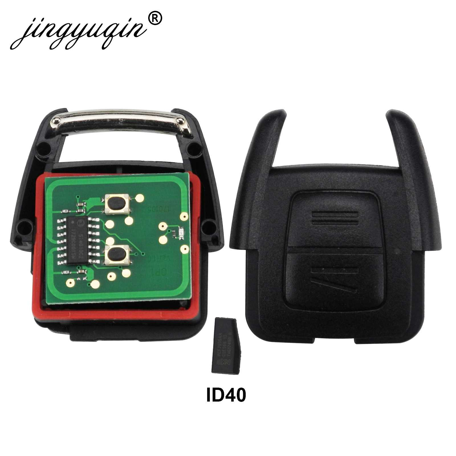 Jingyuqin 2 boutons 433Mhz Fob clé à distance pour Opel Vauxhall Vectra Zafira OP1 24424723 ID40 puce