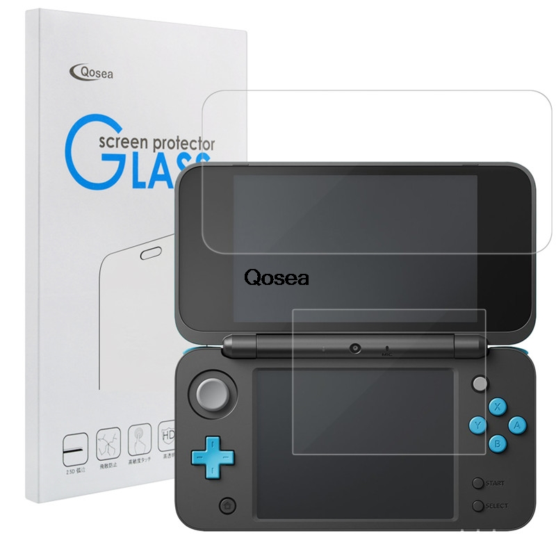 Qosea Tempered Glass For Nintend Switch 2DS XL 2DS LL 9H Ultra-thin Clear Protective Film