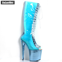 jialuowei 8 High Spike Heel Platform Lace-up Peep-toe Metalic Color Clear Transparent Knee-High Boots Women Sexy Fetish Shoes jialuowei women sexy fashion shoes lace up knee high thin high heel platform thigh high boots pointed stiletto zip leather boots