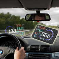 Universal A8 5.5 Auto Car Head Up Display HUD Projector OBD II Vehicle Speeding Warning MPH with Anti slip Pad Fuel Speedometer
