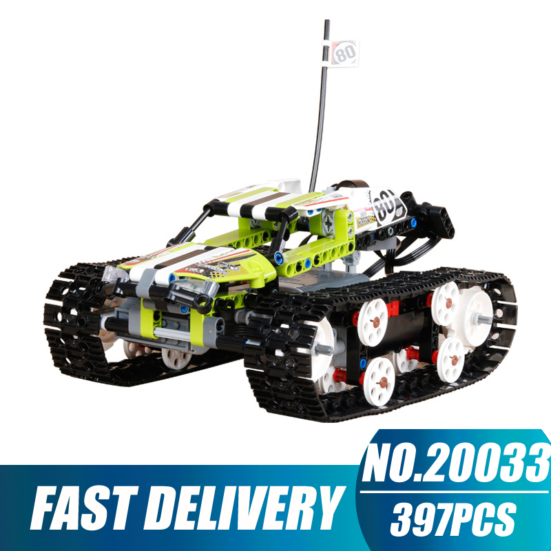 Compatible Legoe Technic 42065 Lepin 20033 397pcs RC Track Remote-control Race Car building blocks Bricks toys for children lepin technic city series 24 hours race car building blocks bricks model kids toys marvel compatible legoe