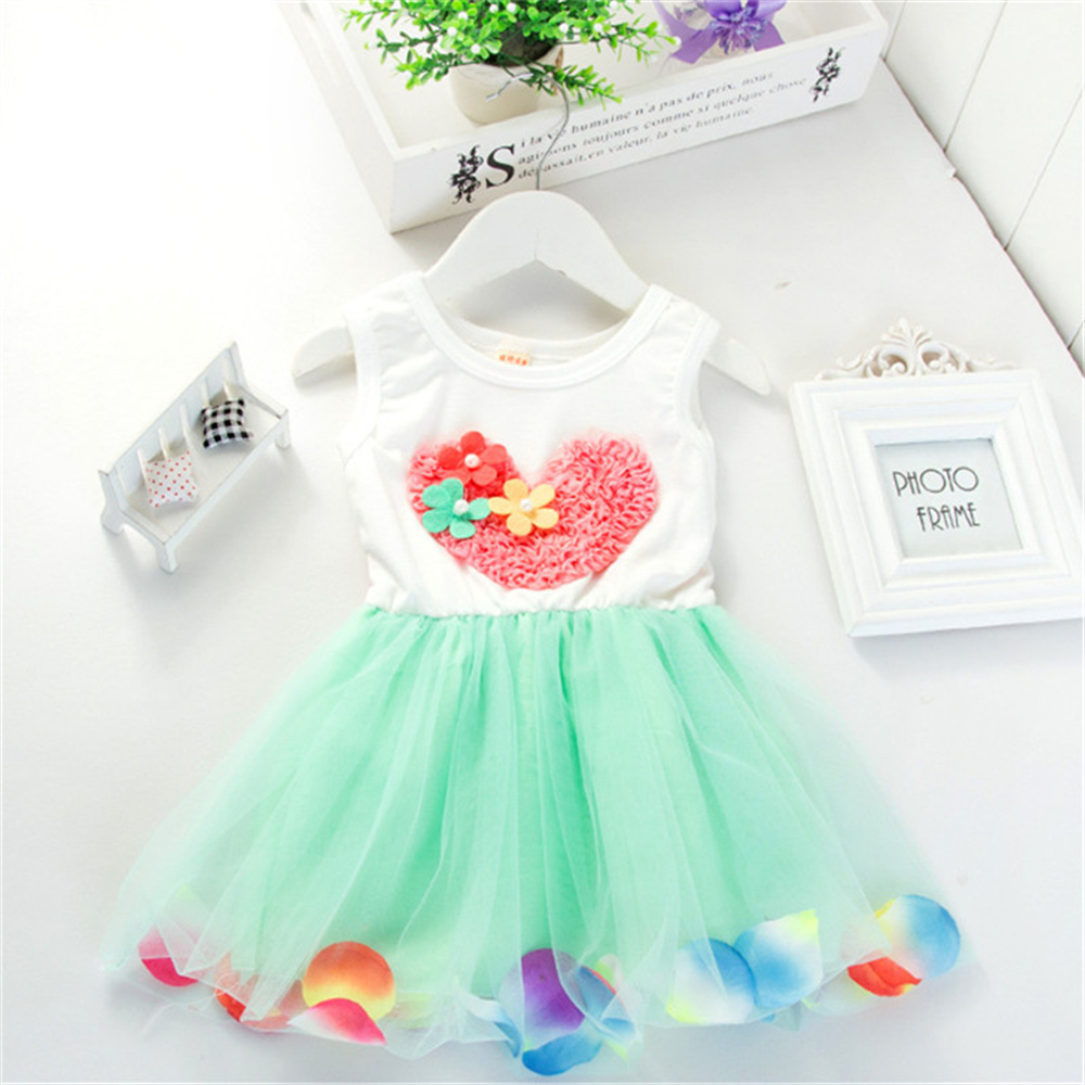 TouchCare Girls' Heart Style Tulle Dresses Sleeveless Floral Petal Baby Girls Princess Dress With Bow Kids Infant Pearl Clothes