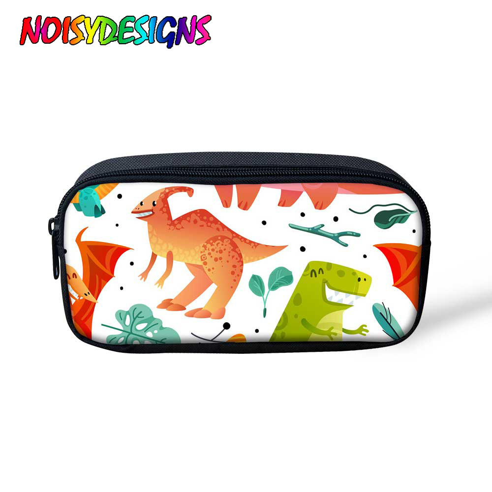 NOISYDESIGNS Dinosaurs Pencil Case For Boys Girls School Cute Cosmetics Cases Big Capacity Canvas Pencil Bag Custom Pencil Box
