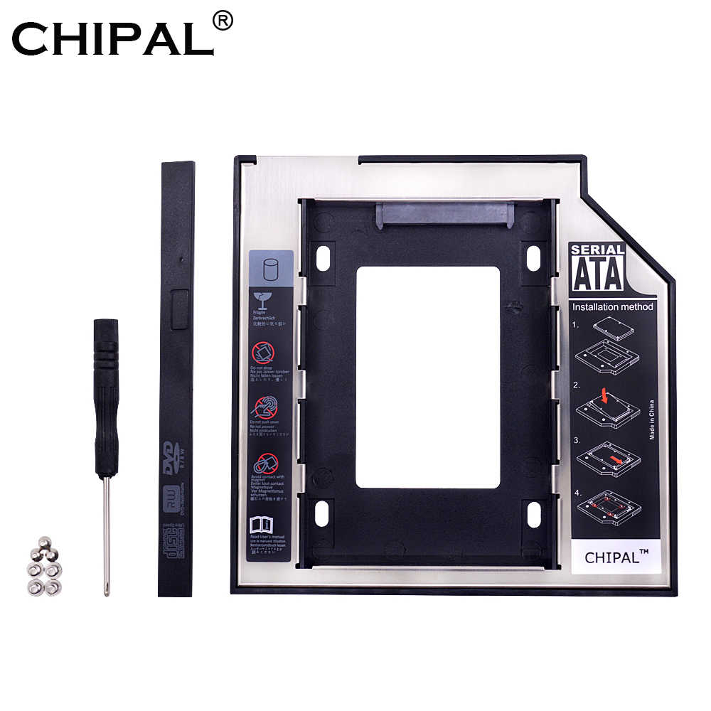 CHIPAL Aluminium LED 2nd HDD Caddy 9,5mm 12,7mm SATA 3,0 2.5 ''SSD Fall HD Festplatte gehäuse für Laptop DVD ROM CD-ROM