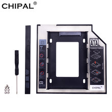 Chipal Aluminium 2nd Kedua HDD Caddy 9.5 Mm SATA 3.0 Optibay 2.5 Cm SSD DVD CD-ROM Kandang Adapter Hard Disk drive Kasus Kotak(China)