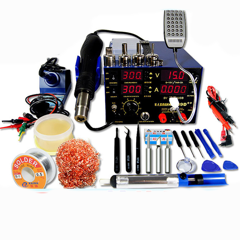 4 in 1 Hot Air Gun Rework Station 909D Soldering Station Power Supply 15v2a Soldering Machine