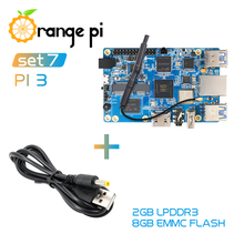 Orange Pi3 2G8G + كابل الطاقة ، H6 BT5.0 لنظام أندرويد 7.0 ، أوبونتو ، دبيان لوحة واحدة صغيرة