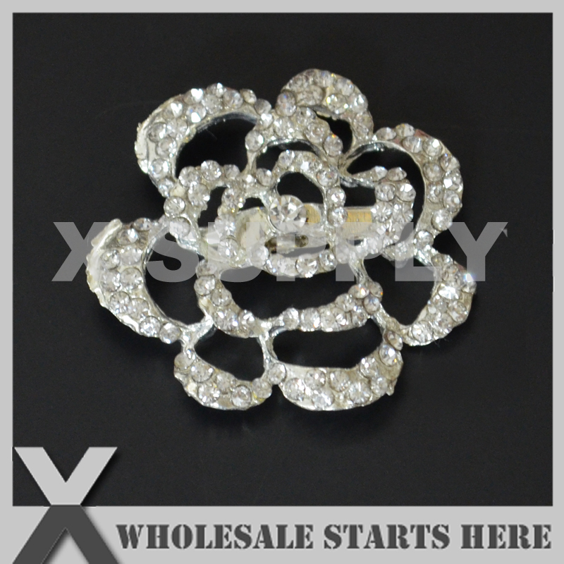 40mm Flower Silver Metal Rhinestone Brooch with Regular Pin Backing,Used for Party Evening Wedding Dress,Decorations