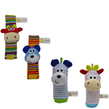 Купить с кэшбэком Saleaman 4PCS Baby Rattle Wrist Rattle & Foot Rattles Finder Socks Set Developmental Soft Animal Rattles Infant Baby Toys