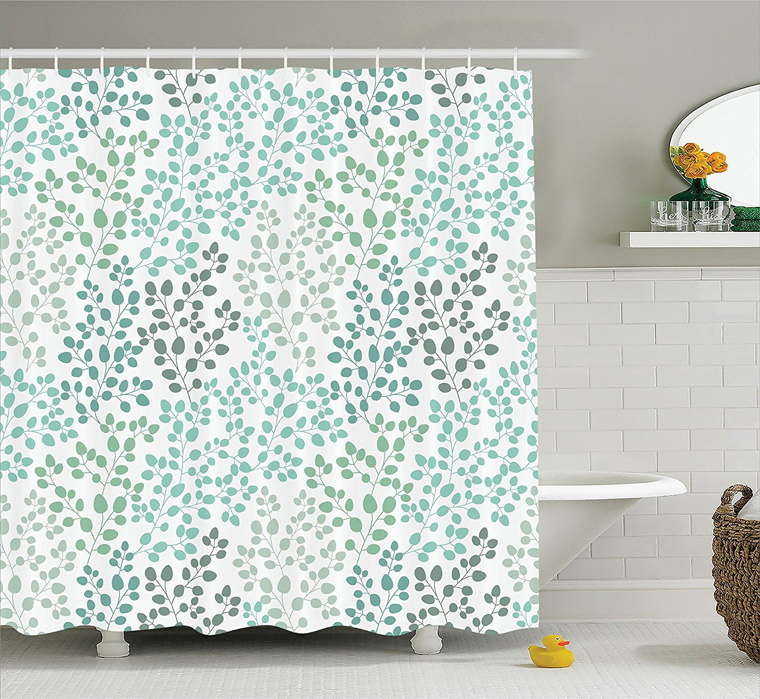 Us 16 19 10 Off Memory Home Nature Shower Curtain Green Decor Pattern Decorative Fabric Bathroom With Hooks Gray Teal Green Shower Curtain In Shower