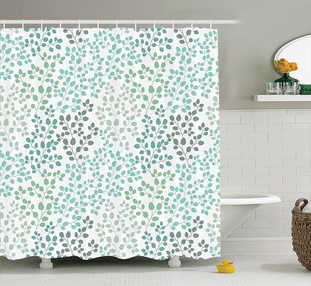 Memory Home Nature Shower Curtain Green Decor Pattern Decorative Fabric Bathroom With Hooks Gray Teal