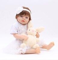 Soft comfortable Stuffed silicone Babies Girl Reborn Baby Doll hard Body Vinyl Realistic 50cm Princess Boneca Reborn DIY Brinqu