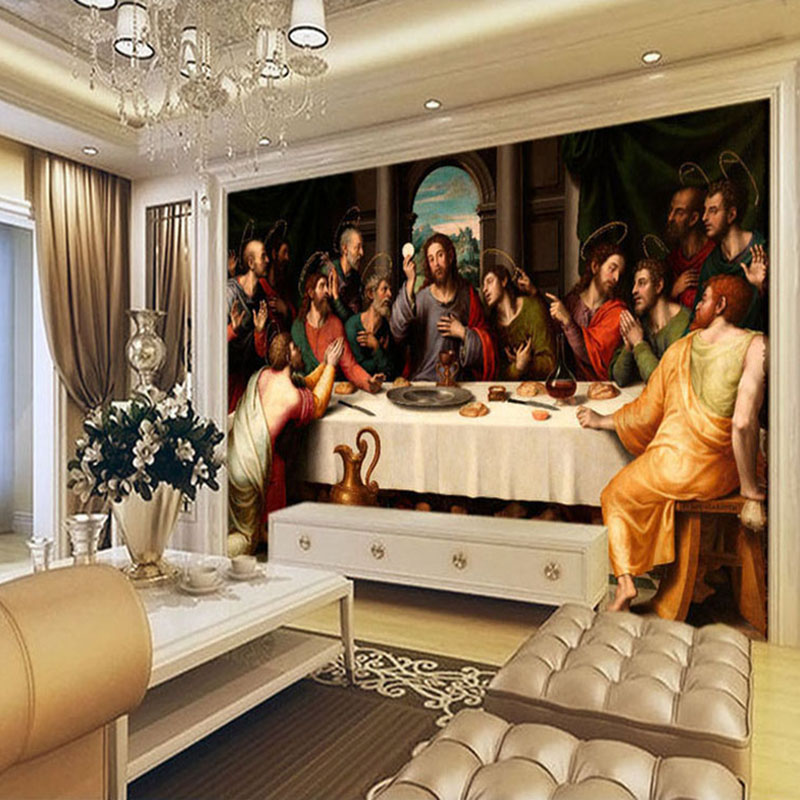 Amazing Aliexpress.com : Buy Custom Photo Wallpaper Murals European Oil Painting Last  Supper Large Wall Painting Living Room Background Wall Mural Wallpaper From  ... Part 20