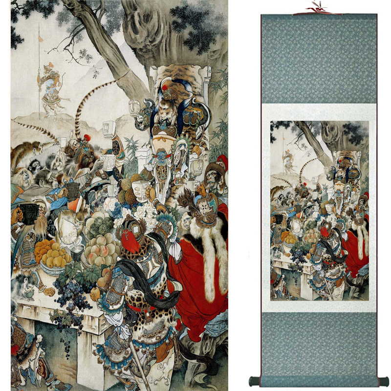 The monkey king caused havoc in heaven art painting silk scroll painting Monkey King Wreaks Havoc in Heaven painting 2018082449(China)
