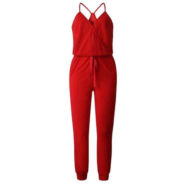 Wontive rojo cuello en V Sexy trajes de las mujeres con cinturón con cuerpo de mujer pantalones de Color sólido mono overoles primavera traje de verano