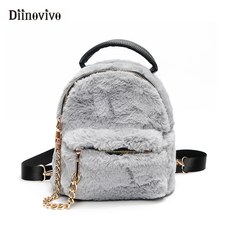 DIINOVIVO Backpack Female Faux Fur Small Backpacks for Women Autumn   Winter  New Fashion Cute School Bag Chain Bagpack WHDV0746 9d41cd0bc626e