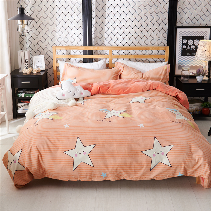 23 styles cotton crystal flannel ab sides fashion bedding set warm fleece printed duvet cover set bed sheet queen king size 4pcs - Flannel Sheets Queen