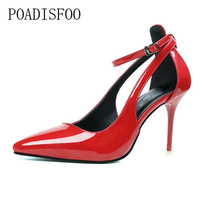 Shallow Pointed Pointed Hollow With A Single Shoe Fashion Simple high-heeled Shoes With high-heeled Shoes .ZWM-2981-1 women crude with a single shoe shallow mouth high heeled shoes 2018 new fashion lady shoes for women high heeled shoes spring 39