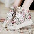 Женская Обувь Мода Холст обувь женщины платформа холст цветочный печати ботильоны клинья обувь P5A104