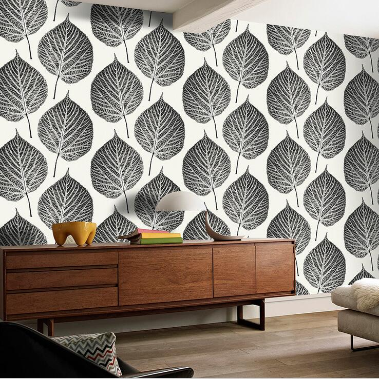 купить Modern Fashion Style  Large Leaf Pattern Design Wallpaper Creative Black Blue 3D Leaf Design For Walls For Living Room Bedroom по цене 1606.96 рублей