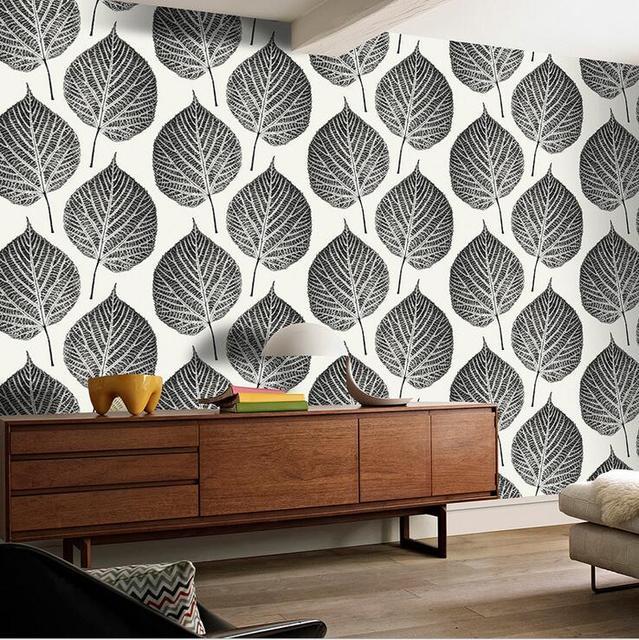 Modern Fashion Style Large Leaf Pattern Design Wallpaper Creative Black Blue 3D For Walls