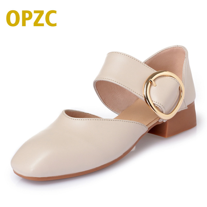 OPZC 2018 New genuine leather woman sandals, Close toe shallow mouth women shoes, Fashion Summer heels high quality lady female front right