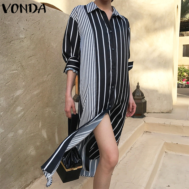 Sexy 2018 New Striped Print Dress For Women Casual Long Sleeve Turn Down Collar Button Hem Split Loose Dresses Plus Size