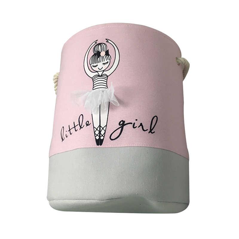 Roze Wasmand Vuile Kleren Katoen Ballet Meisje Boog Print Speelgoed Organizer Thuis Opslag En Organisatie 35*40 cm