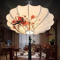Chinese style lamps new classical fabric lotus leaf lamp rustic casual romantic decoration pendant lamp 40 60cm man hand drawing