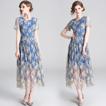 New European and American Women's Lace Elegant Round Neck Long Dress Flower Print Temperament Dress crane and flower print shell dress