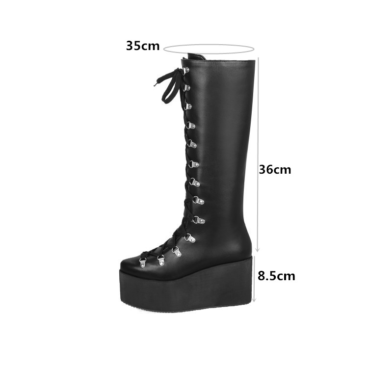 Gothic Womens Lace Up Punk Wedge Heels Platform Knee High Motorcycle Biker Boots