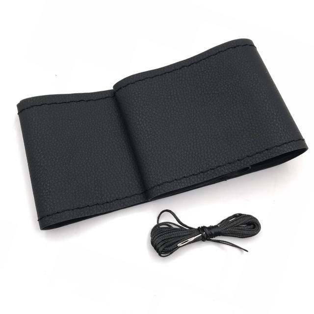 Car Steering Wheel Cover Genuine Leather With Soft Anti-Slip Black DIY Braid & Needles Thread Fit For 38cm Diameter