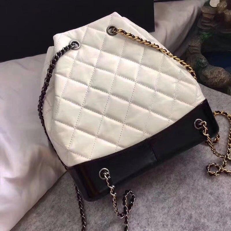 High quality women Genuine Leather Backpack luxury designer chain brand feminina caviar mini backpack for girls