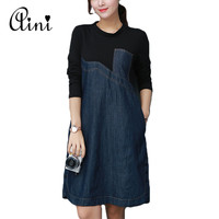 2018 New Spring Long Sleeve Black Patchwork Side Split Buttons Denim Dress Loose Casual Plus Size