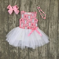 New Easter Cotton Design New Baby Girls Kids Boutique Clothes Pink Bunny Yarn Dress Sets Ruffles