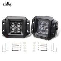 CO ıŞıK LED İş Işık Bar 2 adet 20 W 4D Gömme Montaj Bakla nokta/Sel Işın Offroad Sürüş için Ford Jeep SUV ATV 4x4 4WD Kamyon