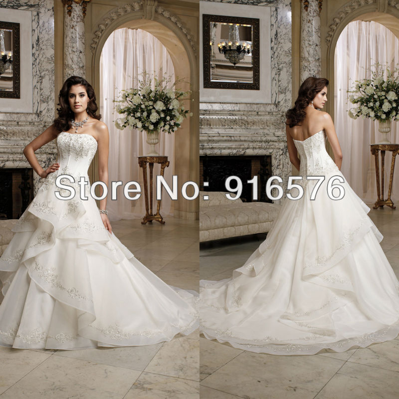 Chapel Train Zipper Closure Sleeveless Applique Sequin Tiered A Line Bustle Skirt Organza Wedding Dress In Dresses From Weddings Events On