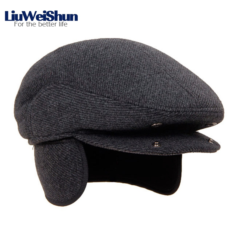 Gorros de Boina de lana de invierno para hombre con orejeras para hombres aa154311e48