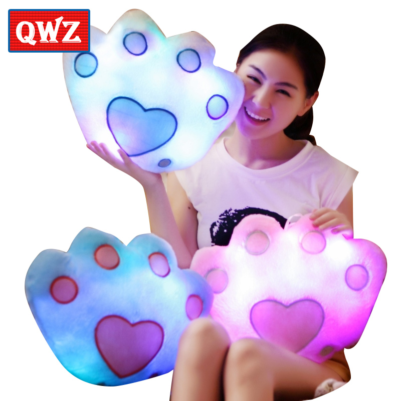 Colorful Glowing Pillows Luminous Bears Paw Pillow Soft Plush Pillow Led Light Pillow Night Light Kids Cushion Toy Girls Gifts
