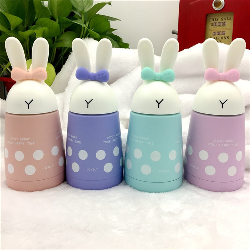 Baby feeding Cup Stainless Steel Cute Rabbit Baby Feeding Cup Girl Insulated Leak-proof  ...