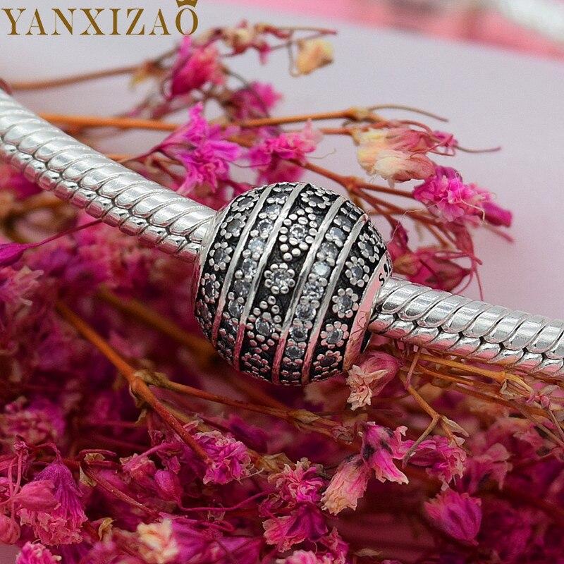 Yanxizao Мода 925 серебро Европейский CZ Шарм Бусины Fit Пандора стиль браслет кулон цепочки и ожерелья DIY ювелирных оригиналов браслет
