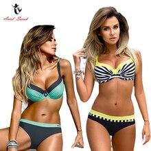 Ariel Sarah Striped Bikini 2017 Plus Size Swimwear Swimsuit Women Sexy Monokini Push Up Bathing Suit Beach Wear Biquini Q210